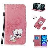 BONROY Huawei Honor 8X H�lle Retro Design PU Ledercase Tasche Schutzh�lle Scratch Magnetverschluss Telefon-Kasten Handyh�lle Bookstyle Handycover-(TX-Pink) Bild