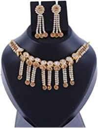 Ansh Creations Jewellery American Diamond Gold Plated Necklace Set / Jewellery Set With Earrings For Women - B077L3RR9S