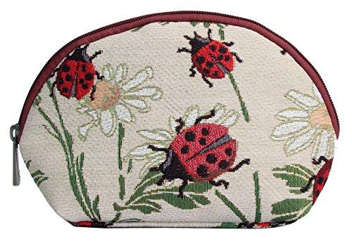 Borsa donna di Signare per il trucco in tessuto stile arazzo alla moda Animali Coccinelle