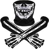 Weißes Skelett Lange Handschuhe und Schädel Gesichtsmaske Hälfte Ghost Bones Cosplay Kostüme für Erwachsene Halloween Tanz Costume Party (4 Sets)