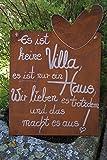 Edelrost Tafel mit Herz Spruch Villa Zum Aufhängen Metall Handarbeit