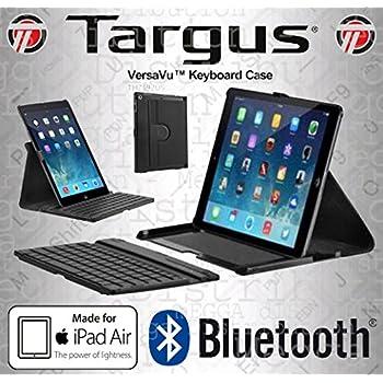 a73de3e025 Targus Versavu, custodia in pelle sintetica multi angolazione con supporto  girevole verticale e orizzontale con tastiera wireless Bluetooth rimovibile  per ...