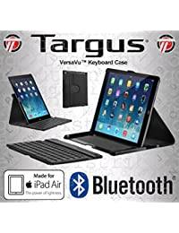 Targus Versavu Multi-View Lightweight Faux Leather Case With Rotating Portrait + Landscape stand with Removable Wireless Bluetooth Keyboard for iPad Air 1 + 2, [Import UK]