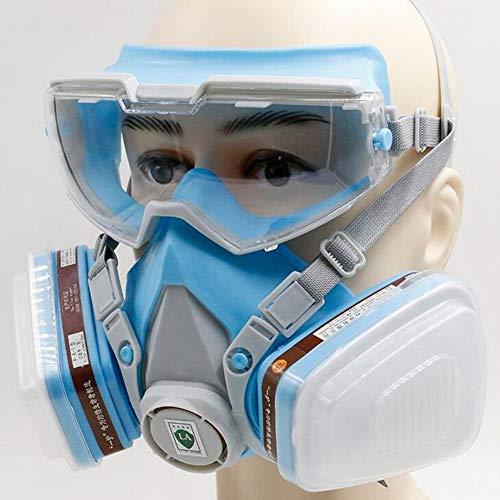 Dämpfe Atemschutzmaske Patrone (QICLT Atemschutzmaske Vollmaske mit Schutzbrille Gasmaske Passform weich Elastische Schnalle für Chemie-Arbeiten gegen Gase, Dämpfe, Fein-Staub und Partikel)