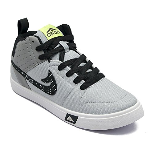 Asian shoes Men's Grey Black Canvas Casual Shoes -9Uk/Indian