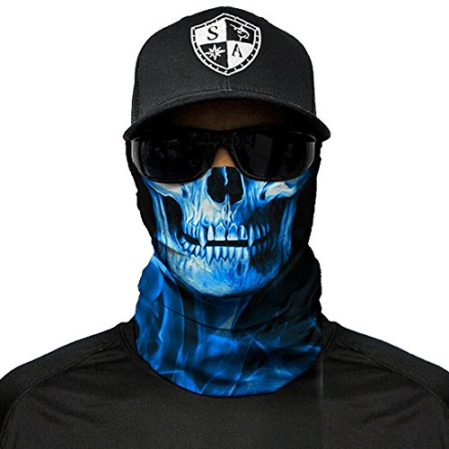 SA Fishing Company Face Shield Sturmhaube viele verschiedene Designs Multiunktionstuch Maske Fishing Totenkopf Schal Skull Bandana Gesichtsmaske Halstuch Ski Motorrad Paintball (Skull Tech Blue Crow)