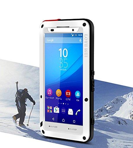 Spritz Wasserdichte Schutzhülle für Sony Xperia Z4, Love Mei Marke Aluminium Material mit Gorilla Glas Display Cover (Rot) weiß