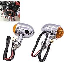 Tuincyn Mini motocicleta Indicador de Intermitentes Luz Forma de bala universal Negro motocicleta conducción Bombilla para