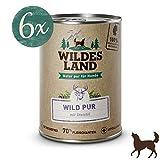 Wildes Land | Nassfutter für Hunde | Wild PUR | 6 x 400 g | mit Distelöl | Getreidefrei & Hypoallergen | Extra hoher Fleischanteil von 70% | Beste Akzeptanz und Verträglichkeit | Rohstoffe aus der Lebensmittelproduktion