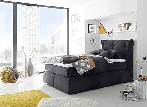 Boxspringbett Hotelbett Polsterbett inklusive Visco Topper Designer Bett von Möbel-BOXX (160 x 200 cm, Moric 8 anthrazit)