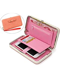 Ladies Purse, Aeeque Fashionable Large Capacity PU Leather iPhone Samsung Huawei Phone Case Handbag with Credit Card Slots for Women Girls Wife - Orange