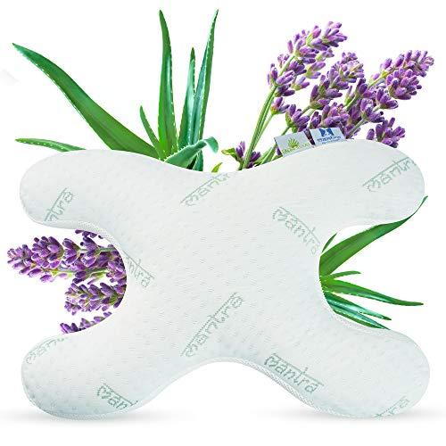 Lelekka Mantra Schlafkissen Bauchschläferkissen gegen Schlaffalten inkl. 2 Bezüge mit Aloe Vera und Lavendel Extrakt