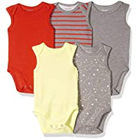 Hanes Ultimate Baby Flexy 5 Pack Sleeveless Bodysuits (Tanks), Yellow/Reds, 12-18 Months
