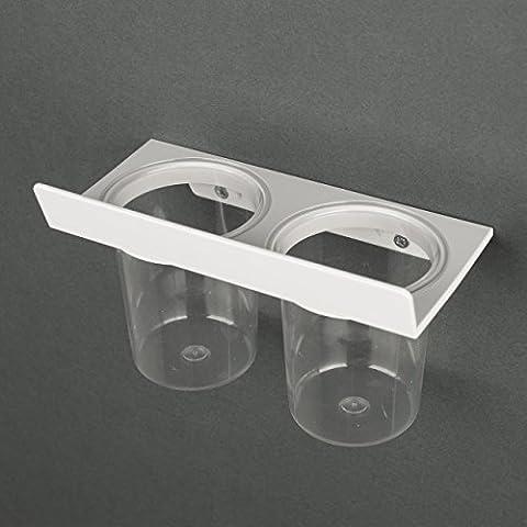 Titular de cepillo de dientes DOUBLE by Kreall. Pack con 2 copas y 1 portavasos blancos . Abs plástico. Diseño y fabricación Made in Italy. Con accesorios para el montaje en la puerta y la pared.
