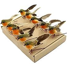 yolococa 10pcs Robin pájaro árbol de Navidad decoración manualidades muy bonito Artificial de plumas