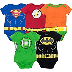 DC Comics Body de Superhéroes - Superman, el Flash, Aquaman, Green Lantern y Batman para Bebé-Niños (Pack de 5), 0-3 Meses