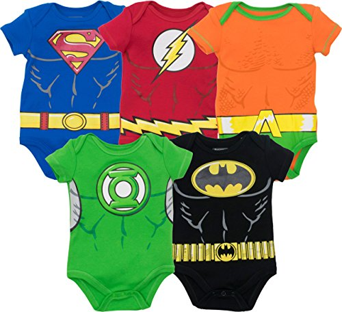 DC Comics Justice League Baby Jungen Superhelden Kurzarm Body - Superman The Flash Aquaman Green Lantern Batman (5er Pack), Mehrfarbig 3-6 - Kind Leuchten Batman Kostüm