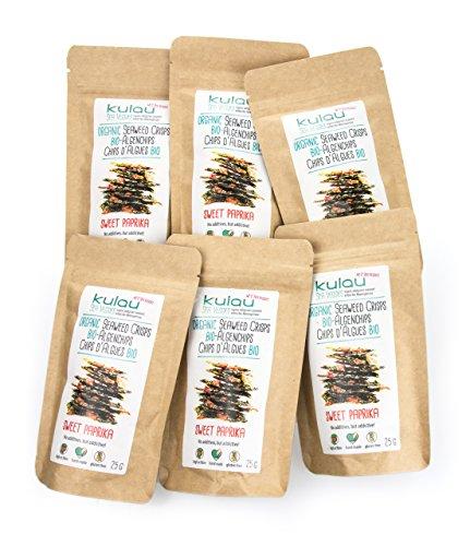Preisvergleich Produktbild KULAU Algen-Chips Paprika (Bio),  Algen-Snack,  knusprige gewürzte Seetang-Blätter 6x 25 g
