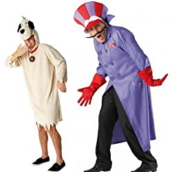 Couples Mens Dick Dastardly & Muttley Wacky Races 1960's Adult Costumes Outfits STD XL
