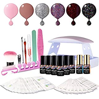 Maphie Gel Nail Starter Kit, Mini LED Nail Dryer with 6 * 6ml Soak Off UV Gel Nail Polish, Top and Base Coat, Nail Art Manicure Tools Set
