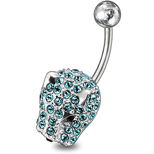 Leichte blaue Kristallsteine Stein Fancy Tiger Kopf Sterling Silberbarren Bauch Piercing
