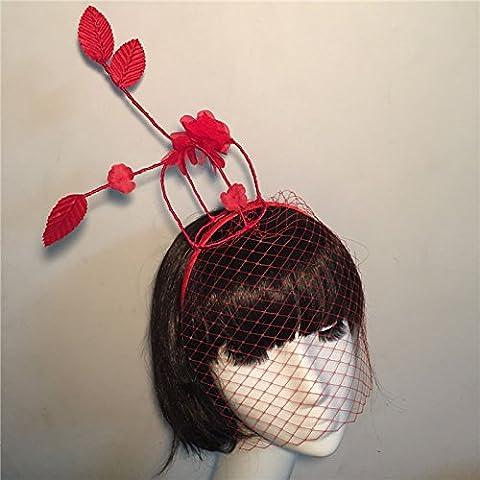 HUAXI Velo di gabbia di uccello rosso a mano su misura, accessori nuziali, corona copricapo per banchetti partito