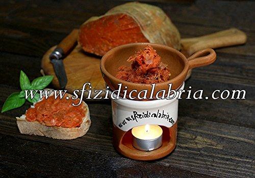 Lo scalda nduja calabrese in terracotta - incluso vasetto di nduja di spilinga in vaso da 190gr - unico originale artigianato calabrese by sfizi di calabria