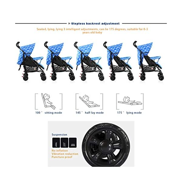 JIAX Foldable Baby Stroller,Travel System with Baby Basket Anti- Newborn Baby Pushchair Adjustable High View Pram Travel System Infant Carriage Pushchair (Color : Blue) JIAX ✤FUNCTION: The stroller can be used as a bed for babies aged 0-6 months. In addition, it can be replaced with a seat suitable for children aged 7-36 months. ✤GLOWING POINT: Only one step for braking or releasing the stroller, firm, wear-resistant, comfortable cushion, sitting mode, half-lay mode, flat-lay mode ✤MORE FEATURES: high enough to protect your baby from dust, can be paired with a dining table like a chair, and the canopy can be adjusted according to the weather 3