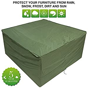 Oxbridge Green Medium Patio Set/Oval/Rectangle Table Cover Garden Outdoor Furniture Cover 2.1m x 1.93m x 0.97m/6.8ft x 6.3ft x 3.2ft 5 YEAR GUARANTEE