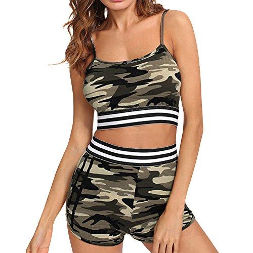 iBaste Tankini Damen Push Up mit Shorts Bademode Camouflage Neckholder Bikini Damen Badeanzug Bikini Sets-M