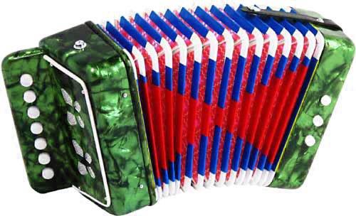 Diatonisches Akkordeon für Kinder 7 Tasten grün