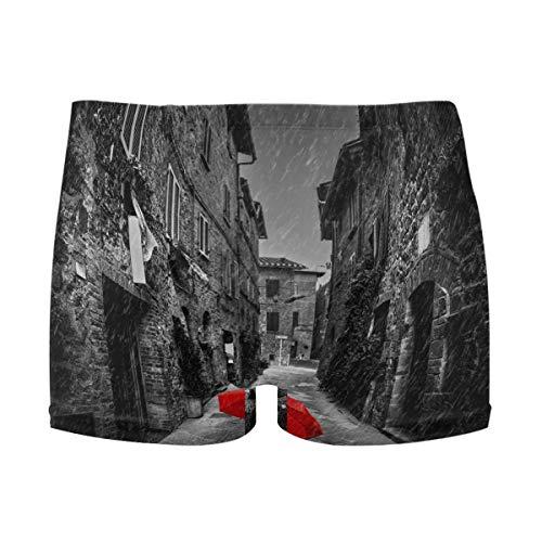 best gift Mens Swim Trunks Red Umbrella On Dark Narrow Street Boxer Briefs Board Short Beach Shorts Men Swimming Briefs Swimwear S