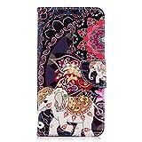 Chreey Huawei Honor 7X Hülle, Leder Handyhülle Flip Case Bunt Niedlich Muster Handy Schutzhülle mit Brieftasche Kartenfach Magnetverschluss [Kleine Blume Elefant]