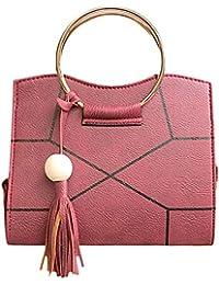 BESTVECH Women PU Leather Floral Printed Tassel Handbag Crossbody Shoulder(Red)