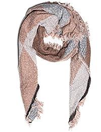Kandharis XXL Schal Halstuch Parallelogramm Form Karo Plaid Muster Schräg beidseitig tragbar VIntage Fransen Zweifarbig Oversized WS-13