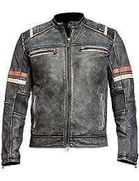 db32bce539c1 e-clothing Cafe Racer Moto retrò Vintage Biker Stile Vera Pelle Nero Giacca  Moto con