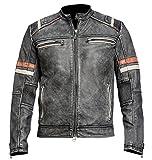 Cafe Racer Vintage Retro-Motorrad Biker Style Schwarz Echtleder Jacke Motorrad mit Roten Streifen am Ärmel-XL