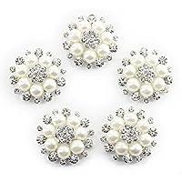 VORCOOL 5pcs abbellimenti bottoni - strass e perla fiore fai da te stile (Beige + argento)