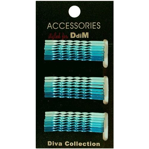 24 Stück Haarklemmen verschiedene Blautöne (gedreht) auf SB Karte Haarklemme Haarklammern Haarschmuck ,0655