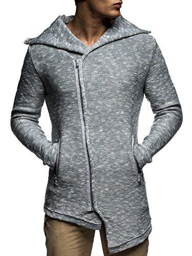 LEIF NELSON Herren Strickjacke Pullover Hoodie Jacke Sweatjacke Winterjacke Pulli Zipper LN20715; Gr_¤e M, Grau