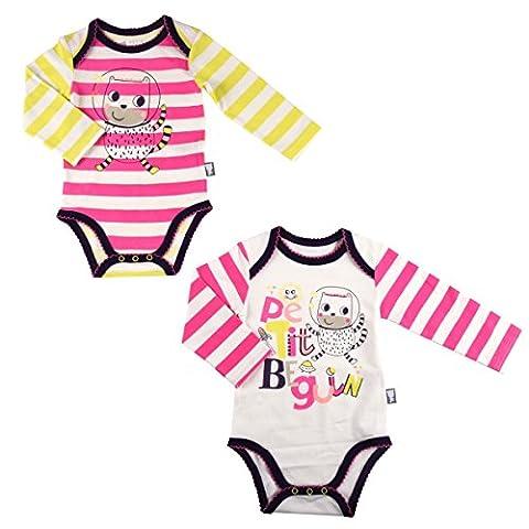 5fc4709dc861b Petit Béguin - Lot de 2 bodies bébé fille manches longues Youpi - Taille -  12