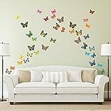 Decowall DA-1705 Lebhafte Schmetterlinge Tiere Wandtattoo Wandsticker Wandaufkleber Wanddeko für Wohnzimmer Schlafzimmer Kinderzimmer