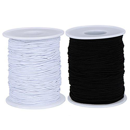 Outus 2 Roll Elastic Cord Thread Perlen Dchnur Stretch String Stoff Crafting Cord für Schmuck Herstellung, 0,8 mm, 100 m/Rolle, Weiß und Schwarz (Stoff-perlen)