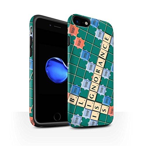 STUFF4 Matte Harten Stoßfest Hülle / Case für Apple iPhone 8 / Warmes Herz Muster / Scrabble Worte Kollektion Ignoranz Glück