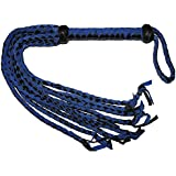 Prairie Horse Supply Suede And Leather Flogger With Braided Tails, Extra Long Suede And Leather Covered Crop Whip Handle, Blue And Black