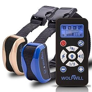WOLFWILL Collier de Dressage Anti-aboiement Etanche Rechargeable pour Chien en Mode de Bip / Vibration et Automatique Ecran LCD pour Deux Chiens
