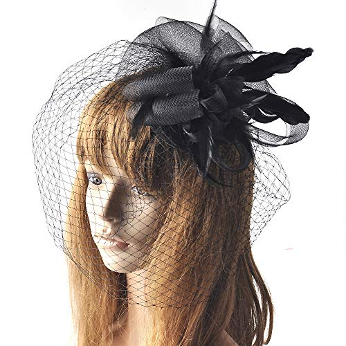 MNII Frauen Fascinators Headwear Feather Cocktail Tea Party Flower Top Hat Fascinators for Girls