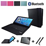 3in1 Starter Set für Wortmann Terra PAD 1061 PRO Bluetooth Tablet QWERTZ Tastatur Tasche Hülle + Schutzfolie + Touch Pen - Bluetooth Schwarz 10.1 Zoll 3in1