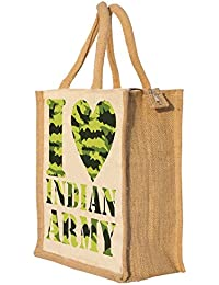 Nisol I Love Indian Army Classic Printed Lunch Bag | Tote | Hand Bag | Travel Bag | Gift Bag | Jute Bag