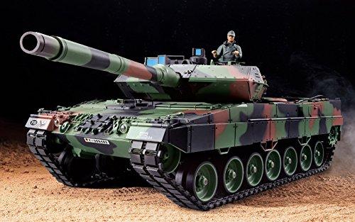 """RC Panzer \""""German Leopard 2A6\"""" Heng Long 1:16 mit R&S, Metallgetriebe und Metallketten -2,4Ghz -PRO"""